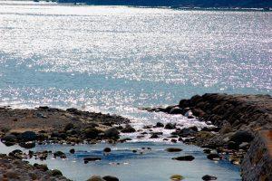 沓川河口から三木里海岸を望む・・・太陽が海に煌めいて目も眩まんばかりに!!